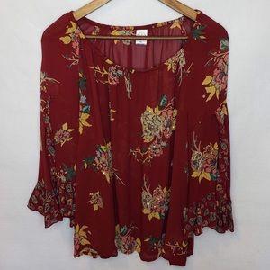 🛒 Bila Floral Blouse Bell Sleeves Boho Top XL